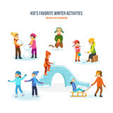 Kids favorite winter activities. Snowman, fireworks, fishing, skating, slide, sled. Kids favorite winter activities set. Snowman, fireworks, fishing, skating Stock Images