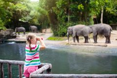 Kids feed elephant in zoo. Family at animal park royalty free stock images