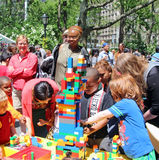 Kids Festival. Children playing with Lego bricks at the kids festival at Madison square park in NYC Stock Images