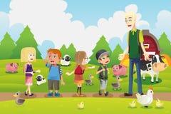 Kids on a field trip to a farm. A vector illustration of a group of kids on a field trip to a farm with their teacher Stock Photos