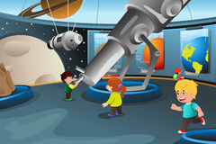Kids on a field trip to a planetarium. A vector illustration of happy kids on field trip to a planetarium Royalty Free Stock Image