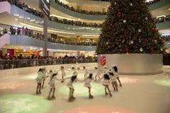 Kids figure skating performance on Galleria Dallas Royalty Free Stock Image