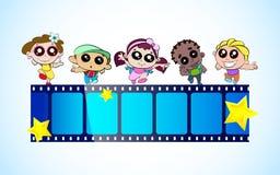 Kids Film Festival. Illustration of kids with film stripe enjoying film festival Stock Images