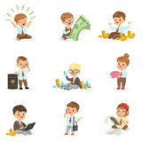 Kids In Financial Business Collection Of Cute Boys And Girls Working As Businessman Dealing With Big Money. Children And Finance Vector Illustrations With Royalty Free Stock Images