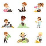 Kids In Financial Business Set Of Cute Boys And Girls Working As Businessman Dealing With Big Money. Children And Finance Vector Illustrations With Adorable Royalty Free Stock Photography