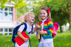 Kids on first school day Stock Photo