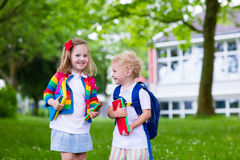 Kids on first school day Royalty Free Stock Photo