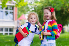 Kids on first school day Stock Photography