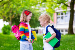 Kids on first school day Royalty Free Stock Photos