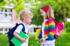 Kids on first school day Royalty Free Stock Image