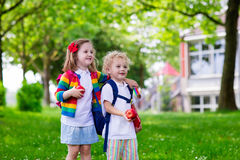 Kids on first school day Stock Photos