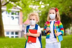 Kids on first school day after quarantine