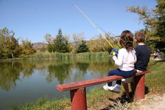 Kids Fishing Royalty Free Stock Photos