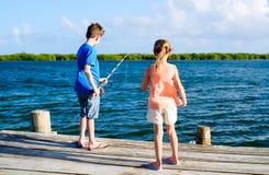 Kids  fishing Stock Photography