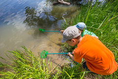 Kids fishing Royalty Free Stock Images
