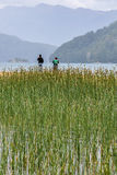 Kids fishing, Road of the Seven Lakes, Argentina Royalty Free Stock Photo