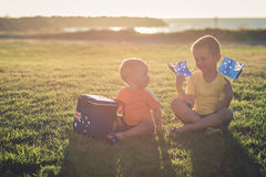 Kids with flags of Australia Royalty Free Stock Images