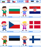 Kids & Flags - Europe [2]. Kids & Flags Series – Europe (8 illustrations in all): Bulgaria, Croatia, Czech Republic, Denmark, Estonia, Finland. Each flag ( Royalty Free Stock Photo