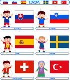Kids & Flags - Europe [7] Royalty Free Stock Photos