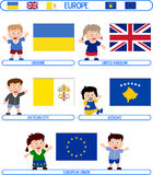 Kids & Flags - Europe [8]. Kids & Flags Series – Europe (8 illustrations in all): Ukraine, United Kingdom, Vatican City, Kosovo (Independence declaration vector illustration