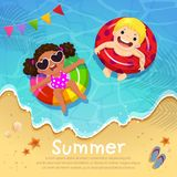 Kids floating on inflatable at the beach in summer time. Templat Stock Photos
