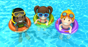 Kids floating with inflatable rin Stock Photos
