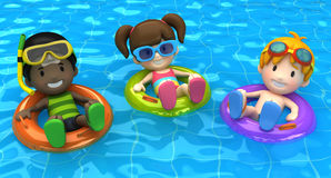 Kids floating with inflatable ring Stock Images