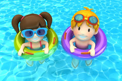 Kids floating with inflatable ring Royalty Free Stock Images