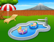 Kids floating on inflatable ring in the pool. Illustration of Kids floating on inflatable ring in the pool Royalty Free Stock Images