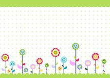 Kids floral. Colorfull kids fun flowers illustration Royalty Free Stock Photography