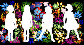 Kids in floral background Stock Image