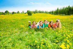 Kids in flower field Stock Images