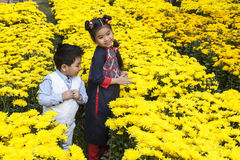 Kids at the flower market Stock Photography