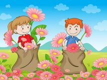 Kids and flowers Stock Image