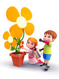 Kids with flowers and water spray Royalty Free Stock Photos