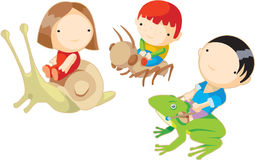 Kids fly on animals. 3 friends are flying on animals Stock Photo