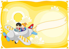 Kids fly by plane with banner  illustration Royalty Free Stock Photography
