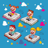 Kids flying on books Stock Image