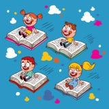Kids flying on books Stock Image