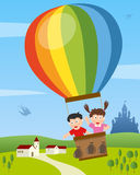 Kids Flying on Hot Air Balloon. Two cute kids flying on hot air balloon in a country landscape. Eps file available stock illustration