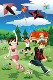 Kids flying kite Royalty Free Stock Photos
