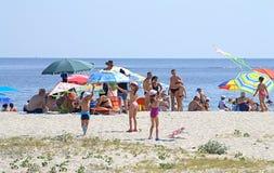 Kids flying kites on the beach Stock Image
