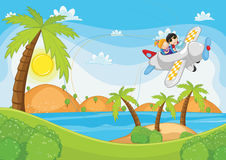 Kids flying by plane vector illustration. EPS 8 Royalty Free Stock Photography