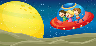 Kids and flying saucers. Illustration of a kids and flying saucers in the univers stock illustration