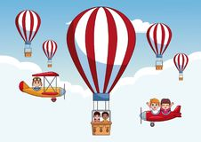 Kids flying in the sky Stock Images