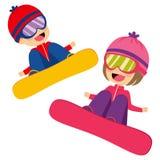 Kids Flying Snowboarding Royalty Free Stock Image