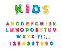 Kids font. Cartoon glossy colorful letters and numbers. Vector royalty free illustration