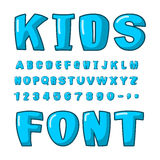 Kids font. Voluminous blue letters. ABC for kids. Cute lettring. Plump alphabet vector illustration