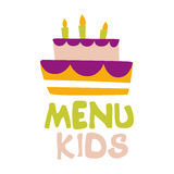 Kids Food, Cafe Special Menu For Children Colorful Promo Sign Template With Text And Party Cake With Candles Stock Image