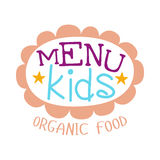 Kids Food , Cafe Special Menu For Children Colorful Promo Sign Template With Text In Pink Floral Frame Stock Image